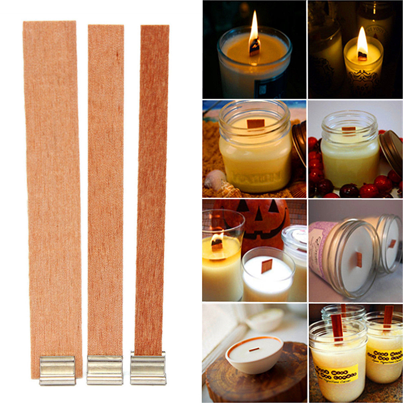 10/20/40Pcs Handmade Wood Wooden Wick Wax Candle Core Sustainers Tab With Metal Stand DIY Candle Making Supply Sets Home Decor