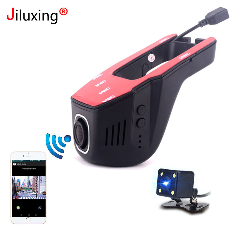 Jiluxing 1080 p mini WIFI Car DVR dos cámaras Dash Cam Video Recorder cámaras coche Dvr App Control chip actualizado LT8724 video del lazo