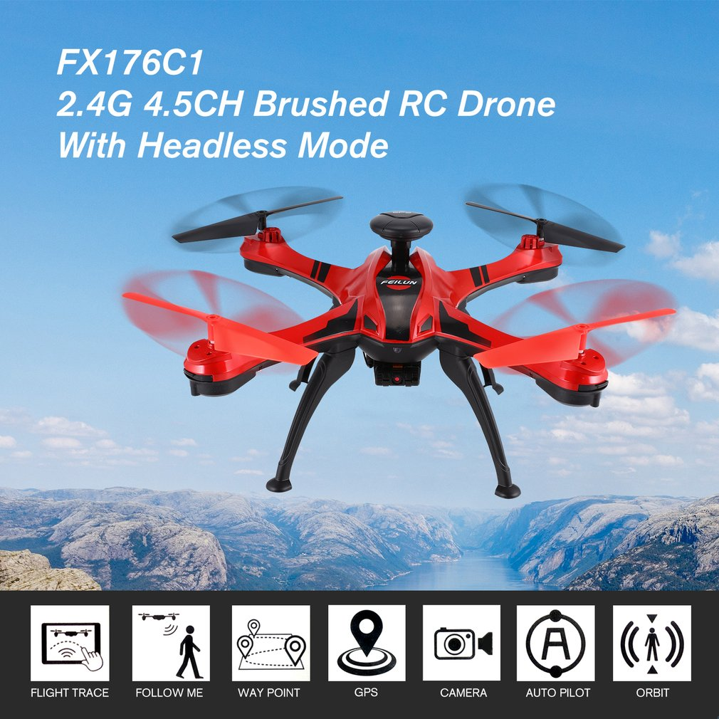 OCDAY FX176C1 2.4G 4.5CH 2.0MP Camera HD Remote Control Helicopter Brushed Quadcopter With GPS Video Flight Trace RC DroneOCDAY FX176C1 2.4G 4.5CH 2.0MP Camera HD Remote Control Helicopter Brushed Quadcopter With GPS Video Flight Trace RC Drone