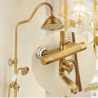 Luxury High Quality Bathroom Antique Brass Rain Shower Set, Thermostatic Shower Faucet Bath & Shower Faucet Set, Wall Mounted wall mounted thermostatic shower faucet 2