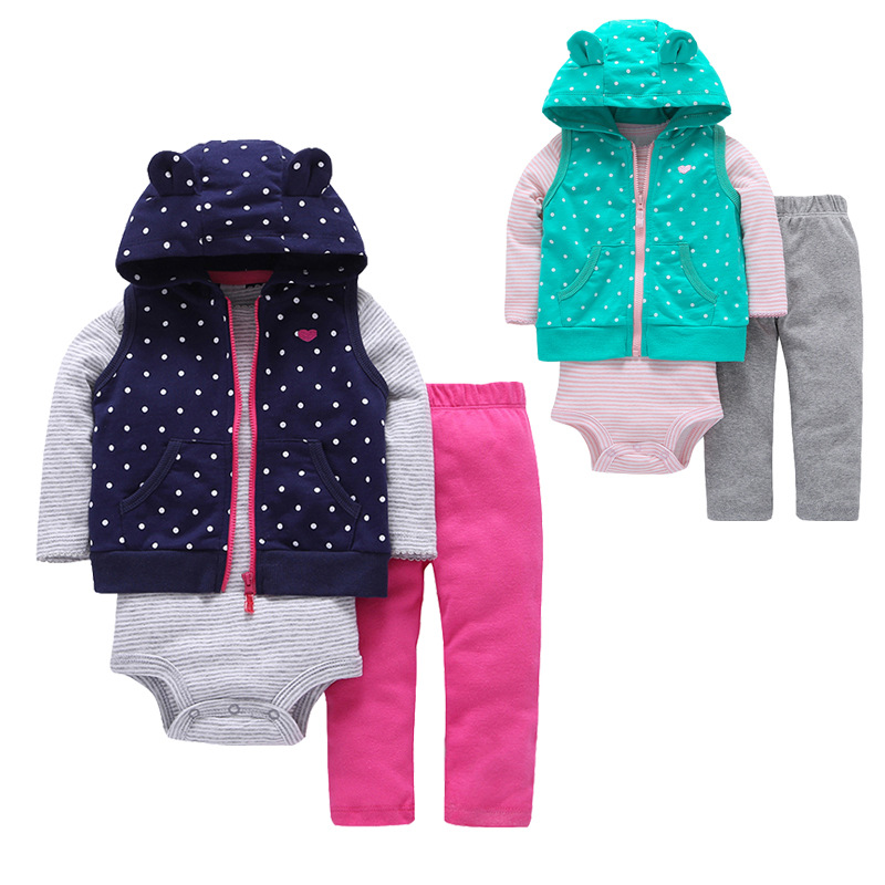 2019 Spring Baby Girls Clothes Set 3PCS New Fashion Bodysuit+Pants+Vest Set Vestido Infant Baby Clothing Set Cartered Style