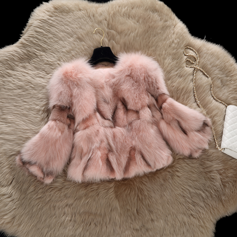 Genuine fox fur coat outerwear women short slim gradient color real fur coats and jackets free shipping g8263