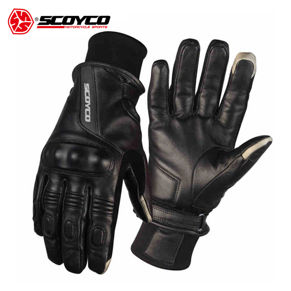 SCOYCO Leather Motorcycle Gloves Waterproof Motocross Full Finger Long Cycling Racing Guantes Moto Luvas M/L/XL/XXL scoyco a012 xl sporty full finger motorcycle gloves black red pair size xl