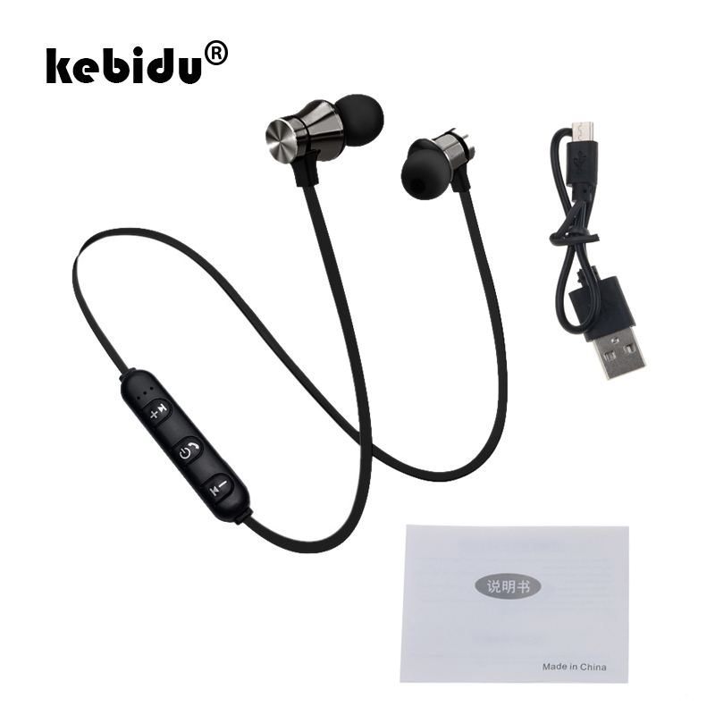 Kebidu Bluetooth 4.2 Earphone Waterproof sports Build-in Mic Magnetic attraction Headset with Charging Cable Earphone for iPhone