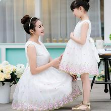 High Quality Cotton Mother Daughter Wedding Dresses Summer 2016 Fashion Mother And Daughter Clothes Princess Sleeveless Family