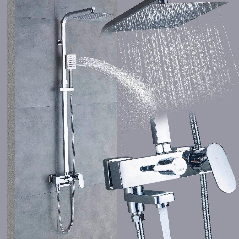 Ensemble de robinet de douche chromé robinet mitigeur de douche à effet pluie en acier inoxydable robinet mitigeur de douche à bec pivotant