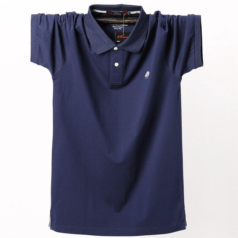 Summer new big man plus fertilizer XL short-sleeved   Polos   male loose cotton v-neck half sleeve   Polos   tide