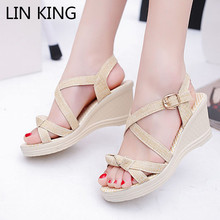Купить с кэшбэком LIN KING Sweet Bowtie Women Sandals Thick Sole Wedges Platform Shoes Height Increase Summer Shoes Leisure Girls Buckle Sandalias