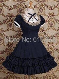 free shipping Beautiful Gothic Lolita dress Short sleeve shirtdress for women Cosplay costumes Retro dresses