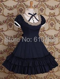 Freies verschiffen Schöne Gothic Lolita kleid kurzhülse shirtdress gurt taillen für frauen Cosplay kostüme Retro kleider-in Kleider aus Damenbekleidung bei  Gruppe 1