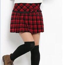 ad990359f8 2017秋のファッション人気のスタイルプリーツショートスカート女性の赤スコットランドスカートタータンキルトチェック柄スカートティーン女の子学