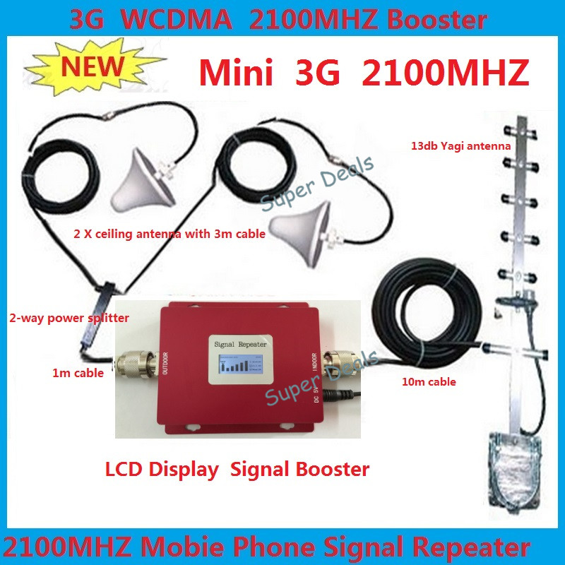 New LCD Display 2100MHZ WCDMA UMTS 3G Repeater 3G cellular Signal Booster amplifier With 3G Antennas For 2 homes Full Sets kitsNew LCD Display 2100MHZ WCDMA UMTS 3G Repeater 3G cellular Signal Booster amplifier With 3G Antennas For 2 homes Full Sets kits