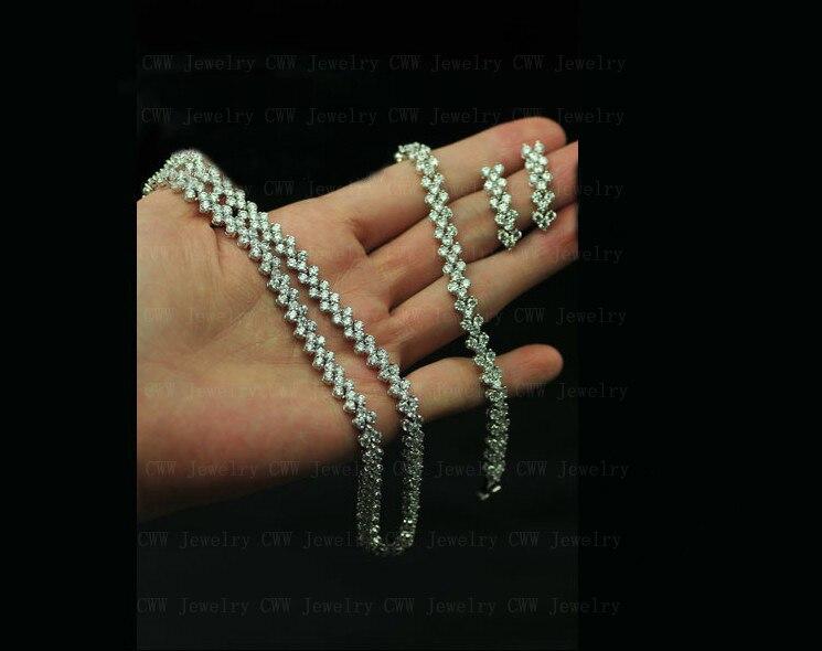 CWWZircons haute qualité AAA + zircon cubique collier Bracelet boucles d'oreilles ensemble de bijoux pour dames Costume bijoux T028 - 2