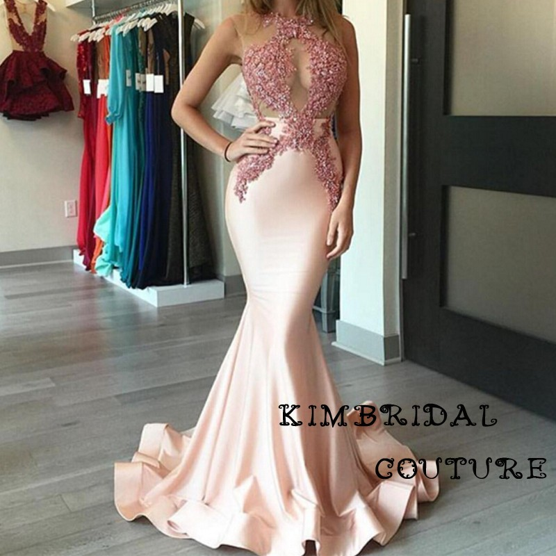 Arabic Evening Dresses Gowns Floor Length Lace Appliques Mermaid Satin  Blush Sheer Prom Dresses Arabic 2017 1cea0587f