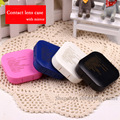 Hot square letter contact lens case for eyes plastic contact lenses box with mirror eyeglass case 4 color Eyewear Accessories