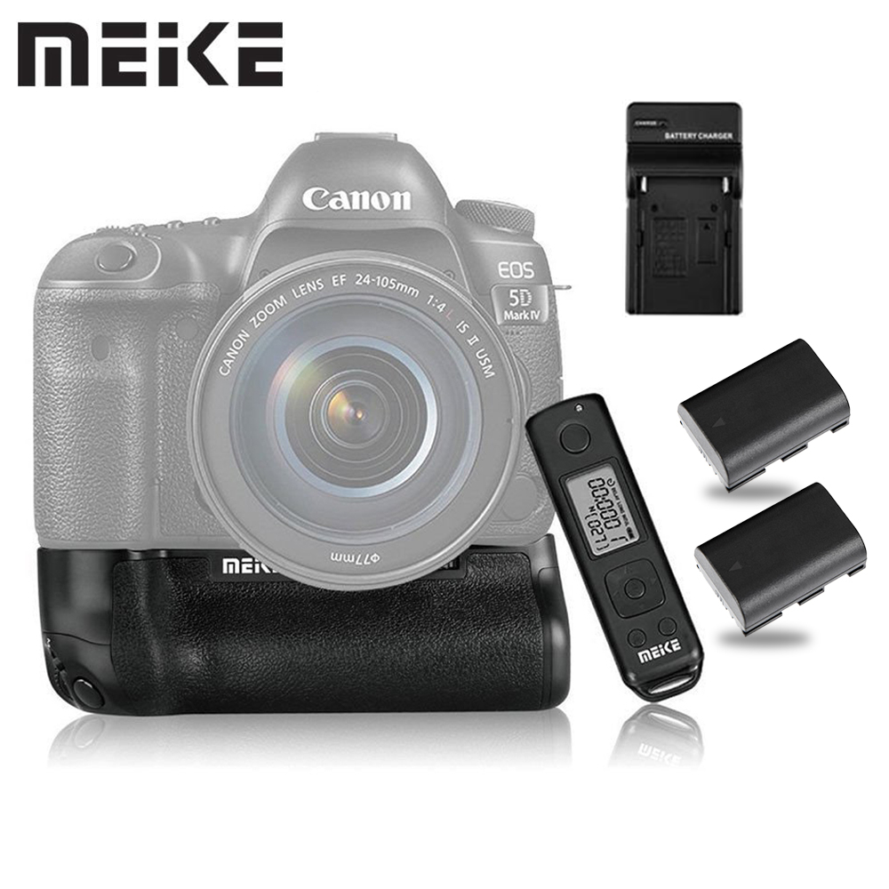 Meike MK-5D4 PRO Battery Grip With 2.4G Wireless Remote for Canon 5D Mark IV as BG-E20 with LP-E6 Battery and Charger meike mk 760dr 2 4g wireless control battery grip with remote for canon 750d 760d as bg e18 free shipping