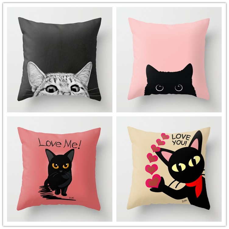 pink cute animal cat pillow cushion cover decorative throw pillow for office home decor pillow sofa - Decorative Pillows Cheap