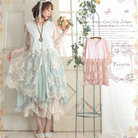 Sweet Spring Summer Mori Girl Sundress Lace Flower Patchwork Dress Women All Match Chiffon Solid Loose