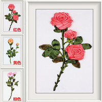 DIY 3D Ribbon Embroidery Cross Stitch Kits Sets Simple Handmade Needlework 3 Colors Rose Flowers Decor
