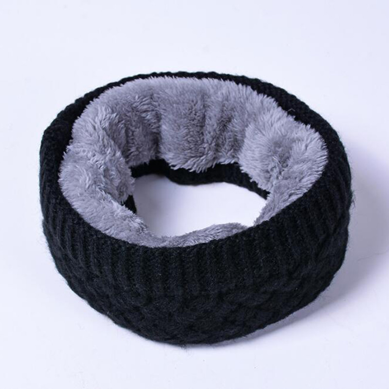 Solid Black Women And Men Scarves Autumn And Winter Knitting Yarn Collar Vertical Stripe Solid Color And Velvet Scarf Keep Warm