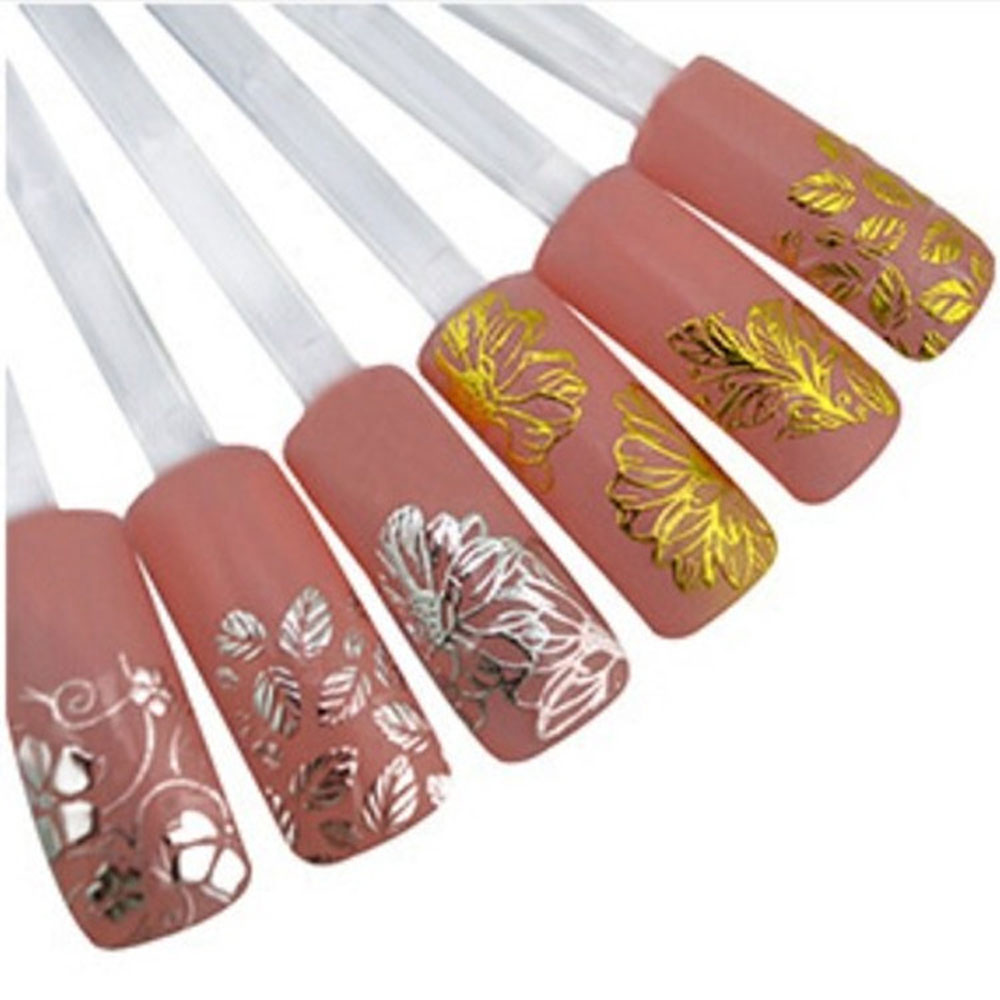 Stickers decals nail stickers nail art decals fashion - Transfer Nails Art Sticker 12 Kinds Of Beauty Pattern Fashion 3d Diy Gold Silver Jewelry Manicure