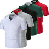 2019 Летняя мужская облегающая футболка с коротким рукавом с v-образным вырезом, Повседневная летняя рубашка, топ, футболка