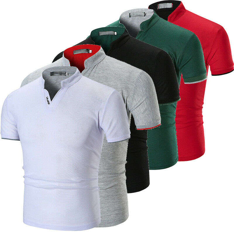 2019 Summer Men's Slim Fit Short Sleeve V-Neck Casual Summer Shirt Top Muscle Tee Shirt