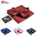 Nuevo 2016 de la moda a cuadros Bolsillo esquinas Afiladas cuadrados conjunto pajarita Pañuelo lazos para los hombres gravata corbatas traje de mariposa