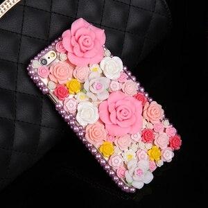 Image 4 - 럭셔리 DIY 다이아몬드 3D 핑크 장미 꽃 블링 케이스 아이폰 12 미니 11 프로 맥스 XS 맥스 XR X 6s 6 8 7 플러스 5 5s SE 2020 Fundas