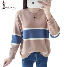 Autumn Winter Round neck Sweater Women Pullover 2018 New Warm Fashion Slim Color match 636