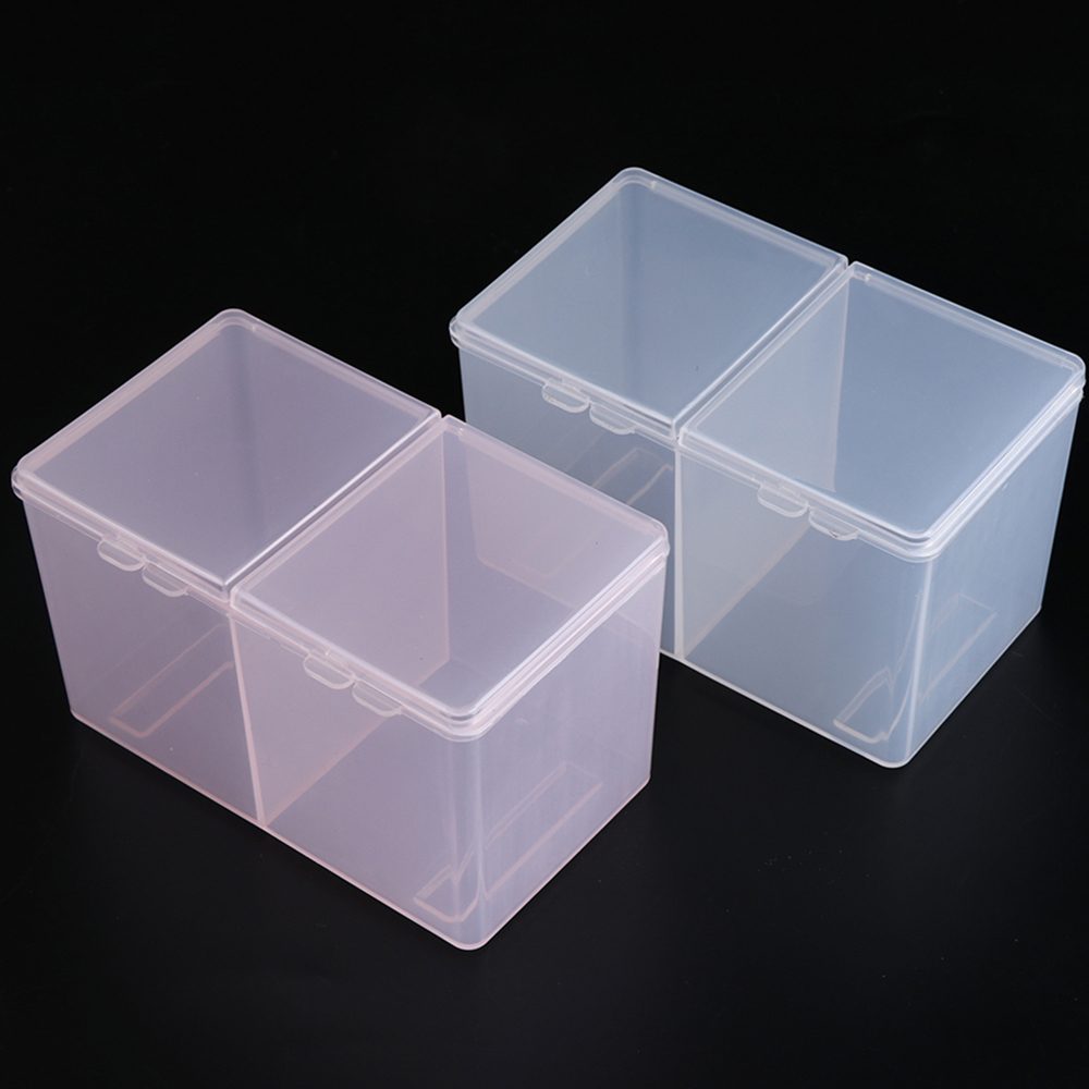 1pcs Plastic Empty Storage Box Remover Pink Clear 2 Grids Paper Makeup Cotton Pad Rhinestone Nail Art Box Tools Container JI013