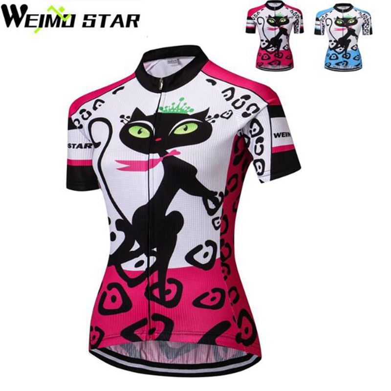 28cdfed11 2018 Weimostar Women s MTB Bike Jersey Red Cats Cycling Clothing Short  Sleeve Bike Shirts Girls Wear Jersey Pink bicycle Tops