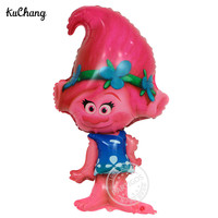 50pcs/lot 82*45CM Troll Foil Balloons Children's Gifts Toys Birthday Party Trolls Poppy Helium Globos Decoration Ballon Supplies