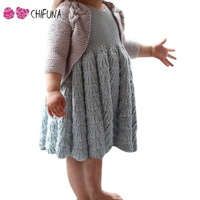 Herbst Kinder Sleeveless Strickkleid Feste Jacquard Mode