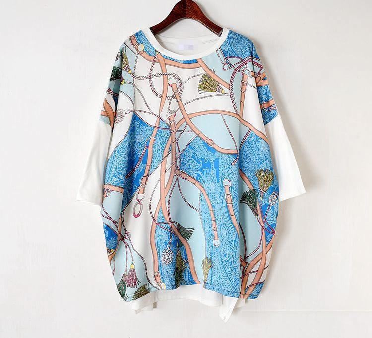 Long Women Europe Fashion 2019 Spring Summer O-neck Short Sleeve T-shirt Female Patchwork Casual Irregular Tee E470 15