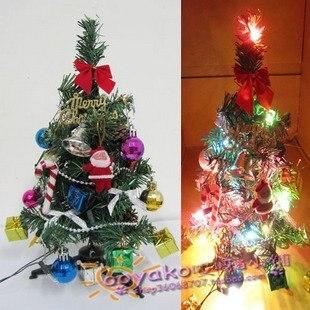 Free shipping 30CM mini Christmas tree Desktop decorated Christmas tree with lights