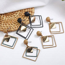 New Geometric Statement Earrings 2019 Square Gold Black Brown Fashion Drop Earrings for Women Jewelry Gifts(China)