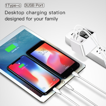 USB Type C Charger 30W Quick Charge QC4.0 QC3.0 Portable Charger Led Display USB Charger For iPhone X Samsung Travel Adapter 1