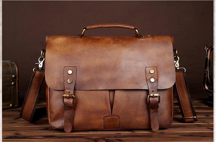 Vintage Men Crazy Horse Genuine Leather Briefcase Mens Classic Shoulder Chic Business Bag Students Crossbody Bags Bolso D824