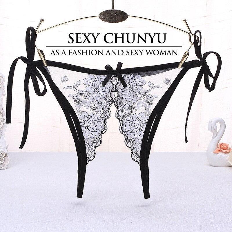 Женские прозрачные трусики-стринги, кружевные трусики с заниженной талией и открытой промежностью, сексуальное нижнее белье