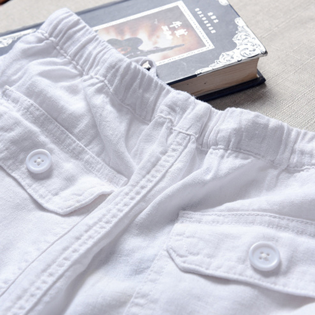 Spring And Summer Men Fashion Brand Chinese Style Cotton Linen Loose Pants Male Casual Simple Thin White Straight Pants Trousers 3