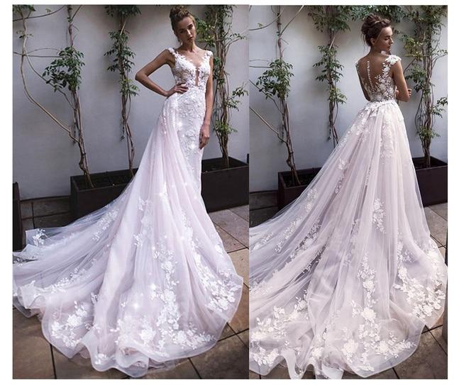Lorie 공주 웨딩 드레스 레이스 꽃과 appliqued 라인 tulle 분리형 기차 boho 웨딩 드레스 신부 드레스 2019