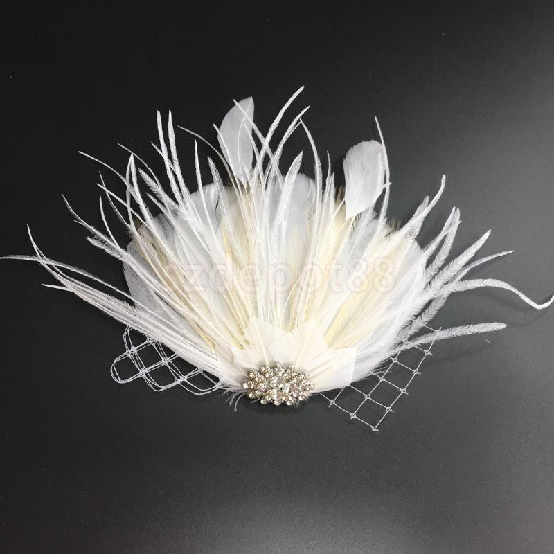Bridal Feather Hairpin Clip Flapper Dress Costume Dimante Veil Headpiece hair accessories
