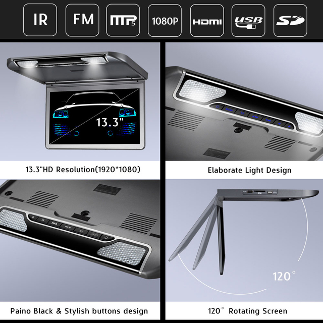 13.3 Inch HD Media Player Roof Monitor With USB SD HDMI IR FM Transmitter  MP5 Player