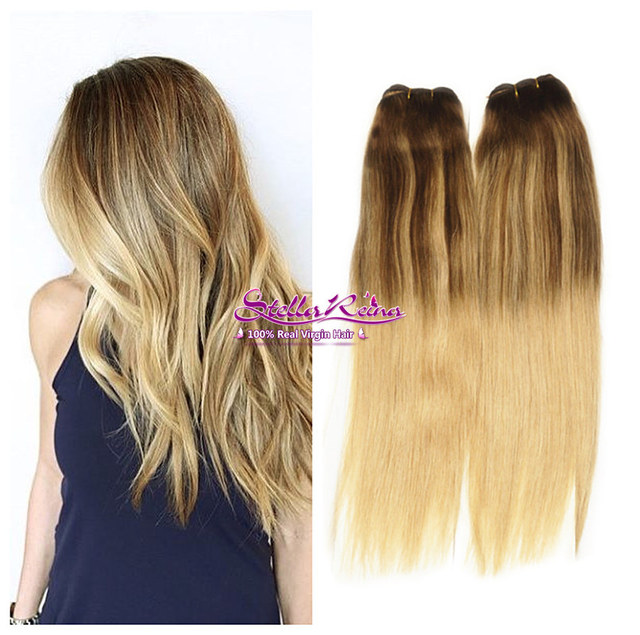 Mocha Ombre Blonde Balayage Highlights Clip In Hair Extensions 7