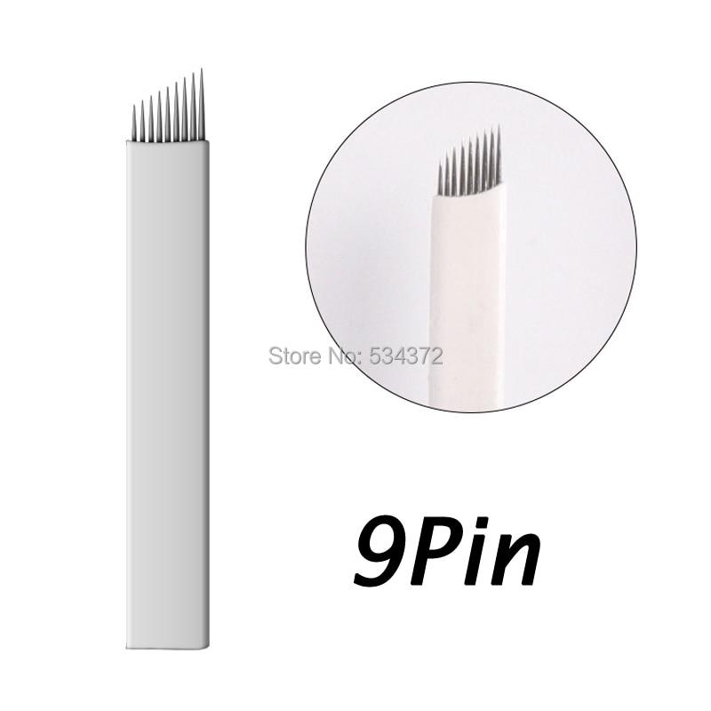 9 PinX50pcs Professional Manual Permanent Makeup blade needles Manual Tattoo Eyebrow blades needles