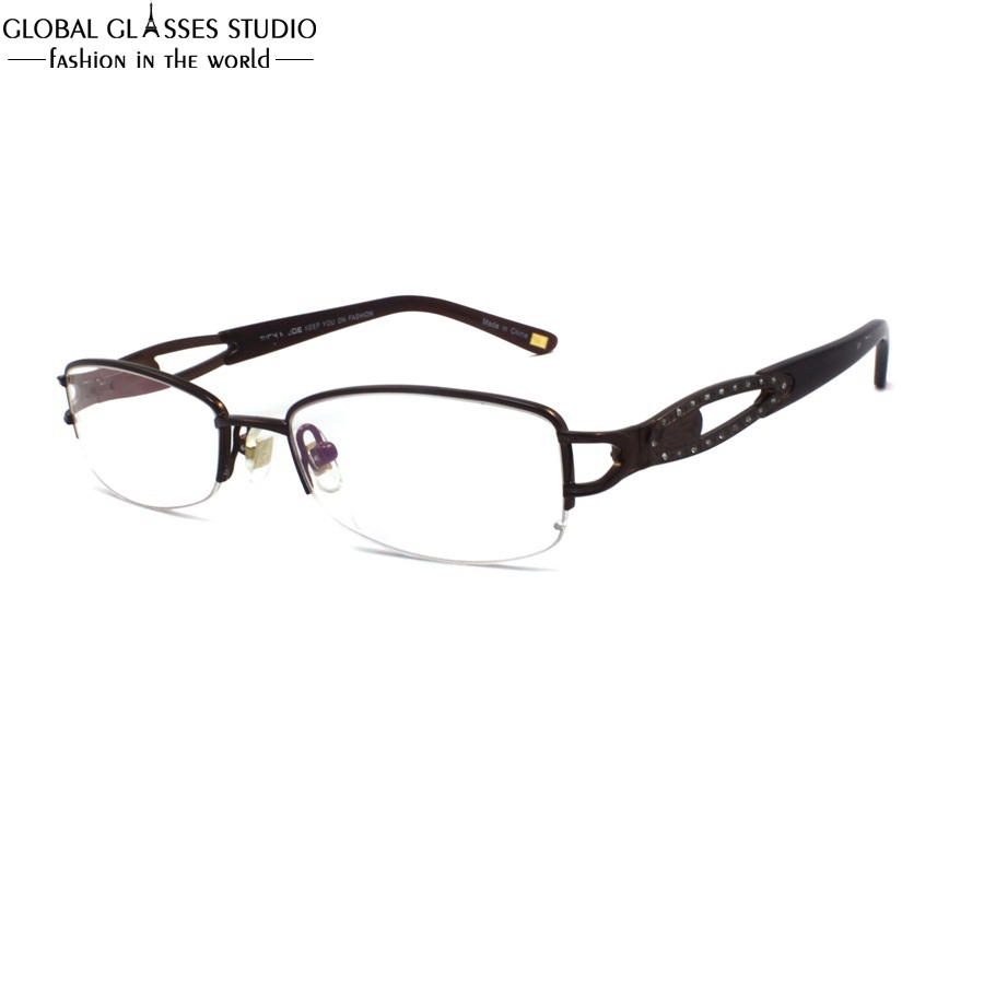 Oval Lens Half Rim Women Luxury Metal Glass Frame Brown Color Hollow Temple Rhinestone Decoration Precious Spectacle RM00465-C2