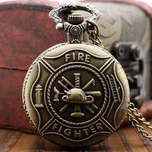Online Shop Antique Bronze Pocket Watch Classic Red Fire Fighter