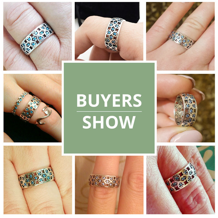 BAMOER 100% 925 Sterling Silver Petals of Love Sweet Clover Blue CZ Finger Rings for Women Engagement Jewelry S925 Gift SCR064 rings for women