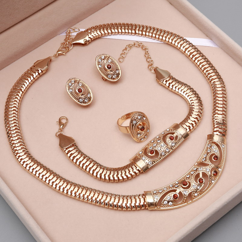 Hoop Earrings Necklace Jewelry-Sets Wedding-Accessories Crystal Dubai Gold Bridal Nigerian